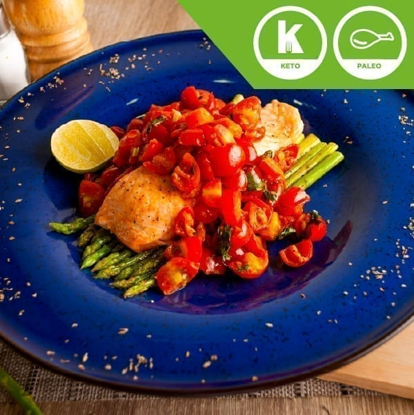 Salmon Sauted Cherry Tomatoes and Asparagus